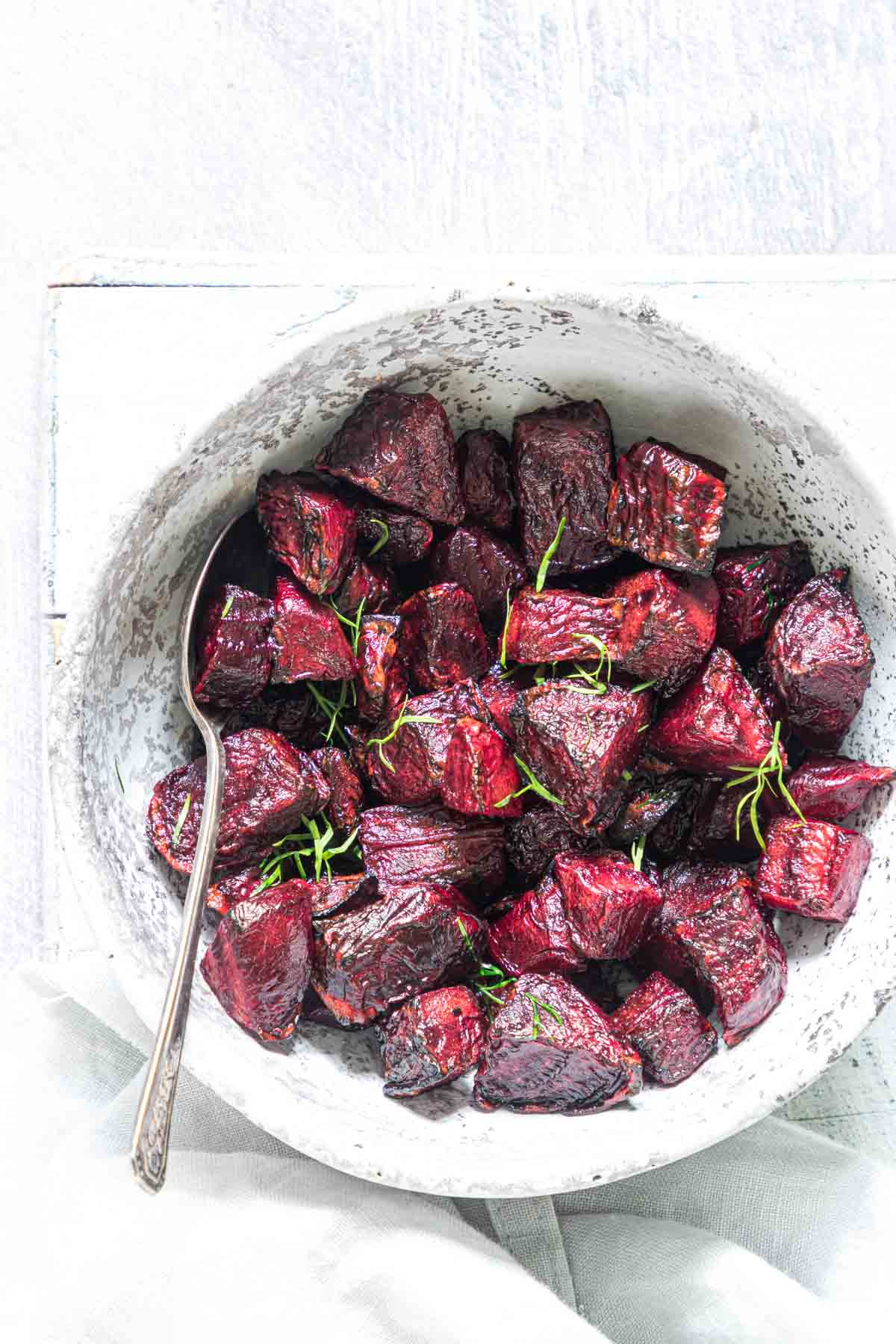the completed roasted beet recipe ready to serve