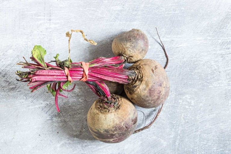 a bundle of 3 fresh beets ready to prep and cook in air fryer