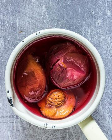 fresh peach syrup in a saucepan