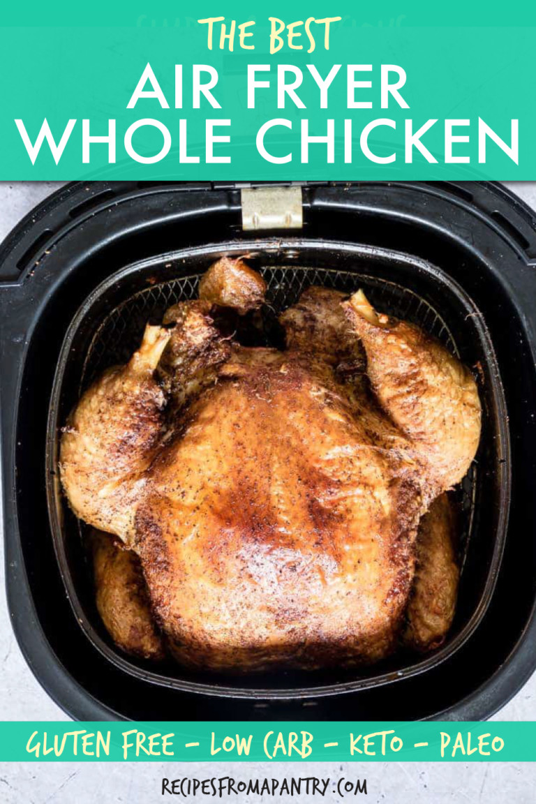 a whole cooked chicken in an air fryer