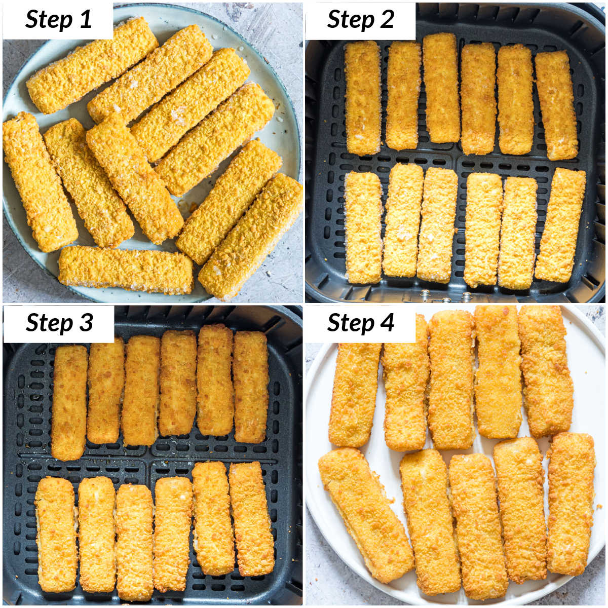image collage showing the steps for making air fryer frozen fish sticks