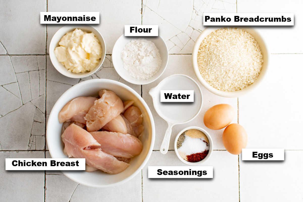 the ingredients needed for making oven baked chicken tenders