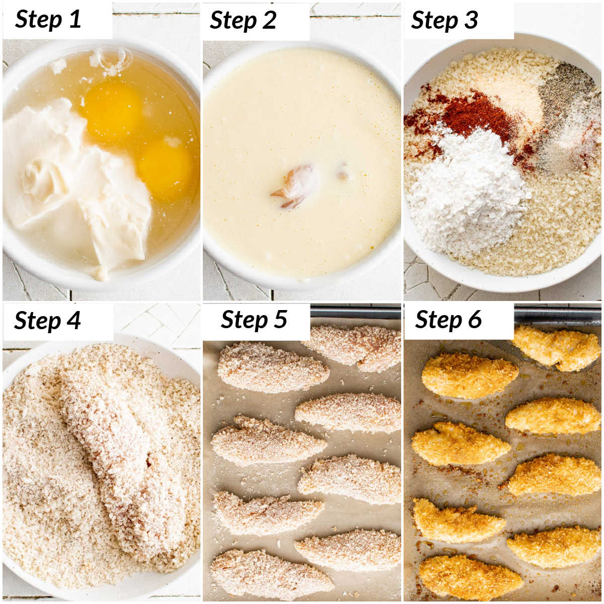 image collage showing the steps for making baked chicken tenders in oven