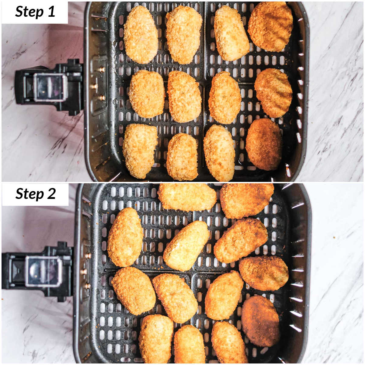image collage showing the steps for making frozen jalapeno poppers in air fryer