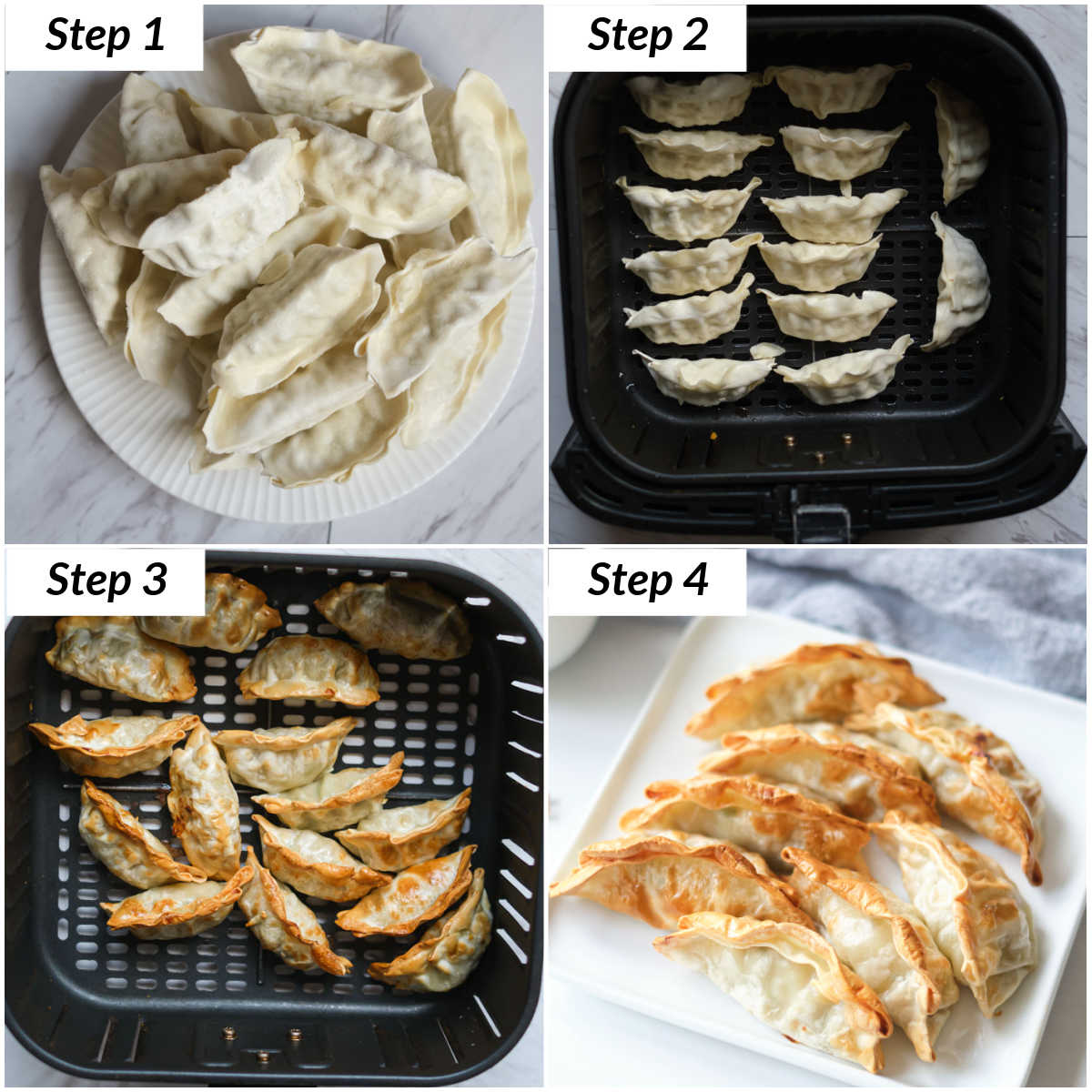image collage showing the steps for making frozen potstickers in air fryer