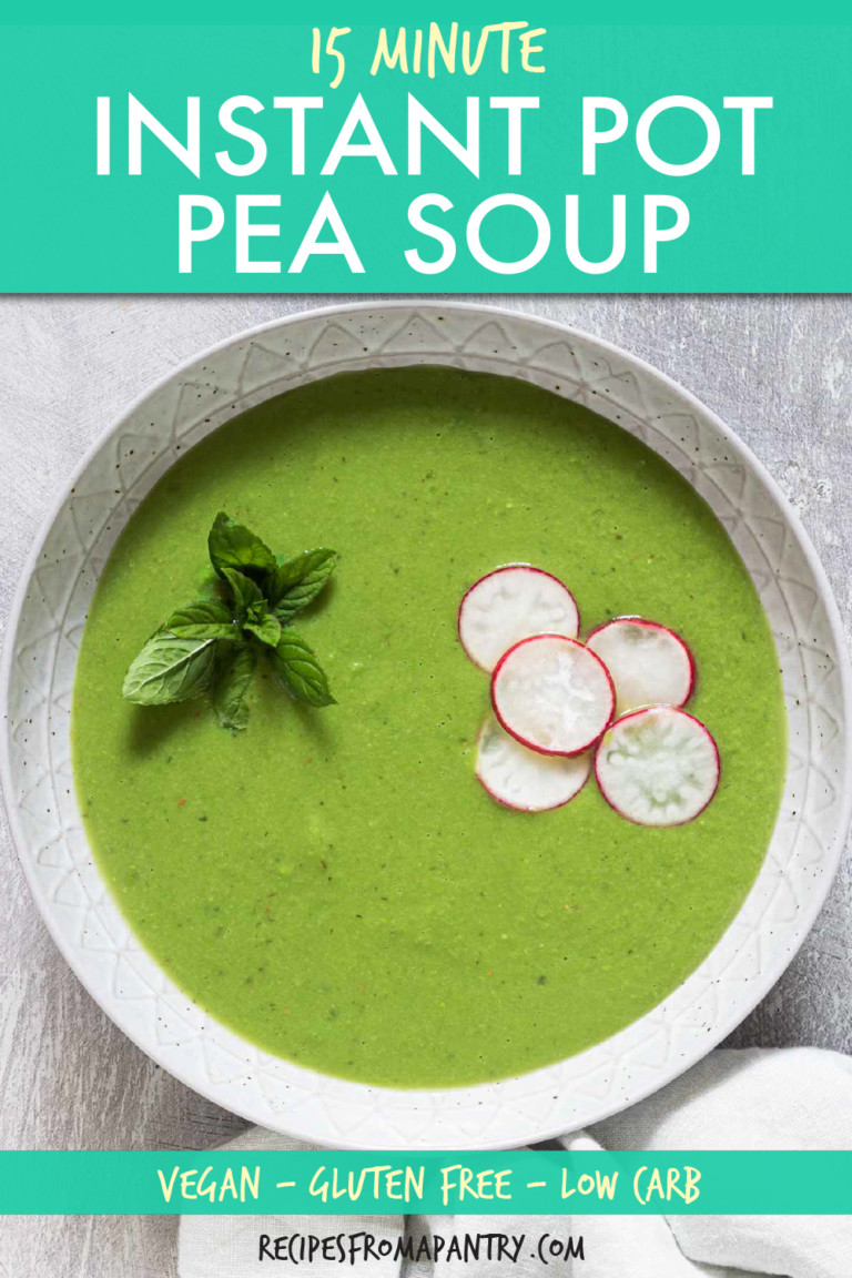 top down view of green pea soup garnished with radish slices and mint