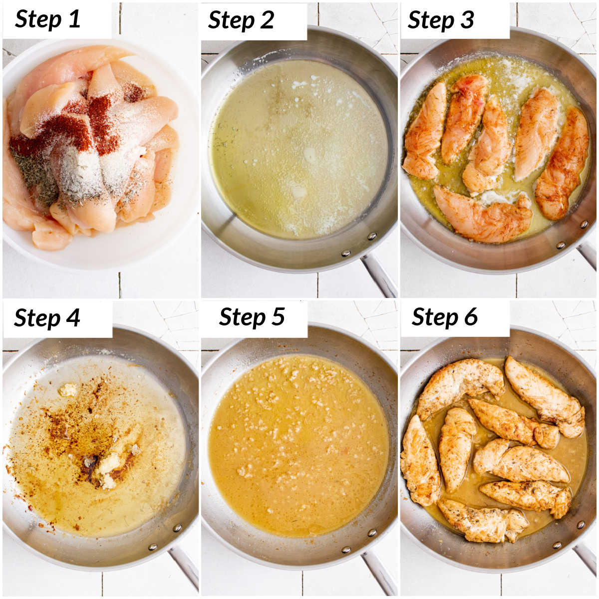 image collage showing the steps for making lemon garlic butter chicken tenders
