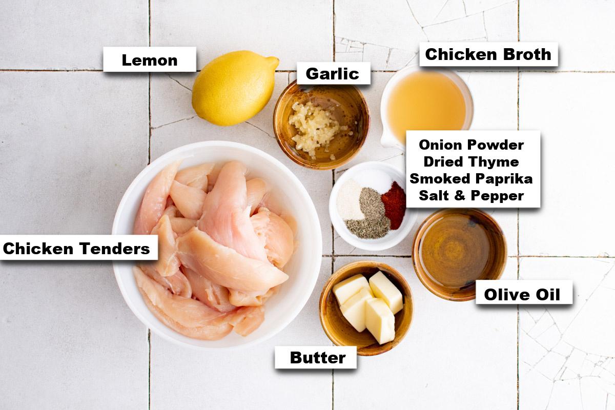 the ingredients needed for making lemon garlic butter chicken tenders recipe