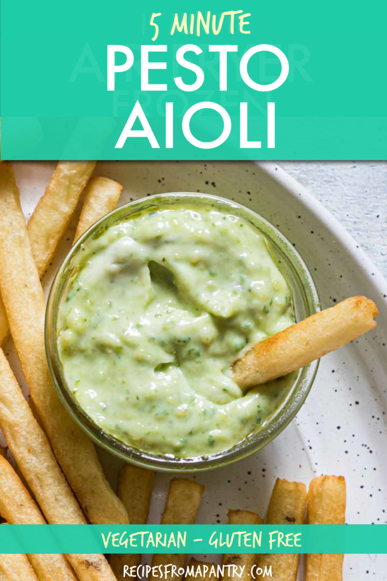 a bowl of pesto aioli with fries on the side