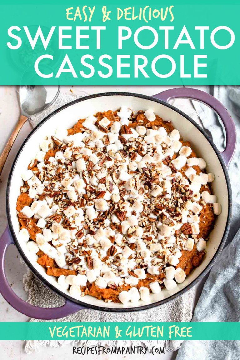 top down view of sweet potato casserole in a dish
