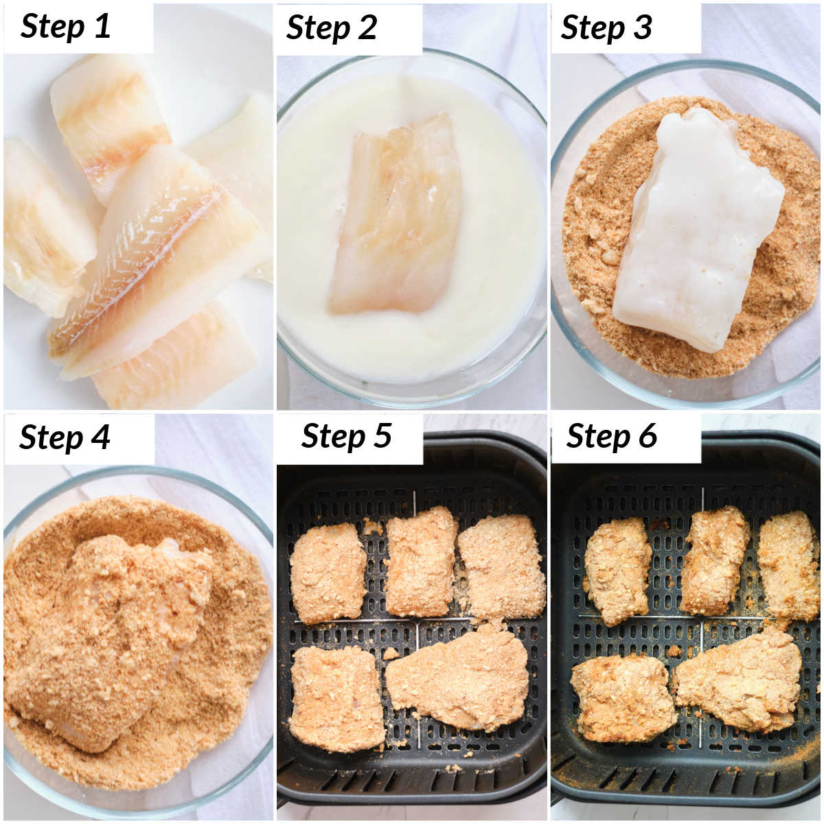 image collage showing the steps for making the fish for air fryer fish and chips