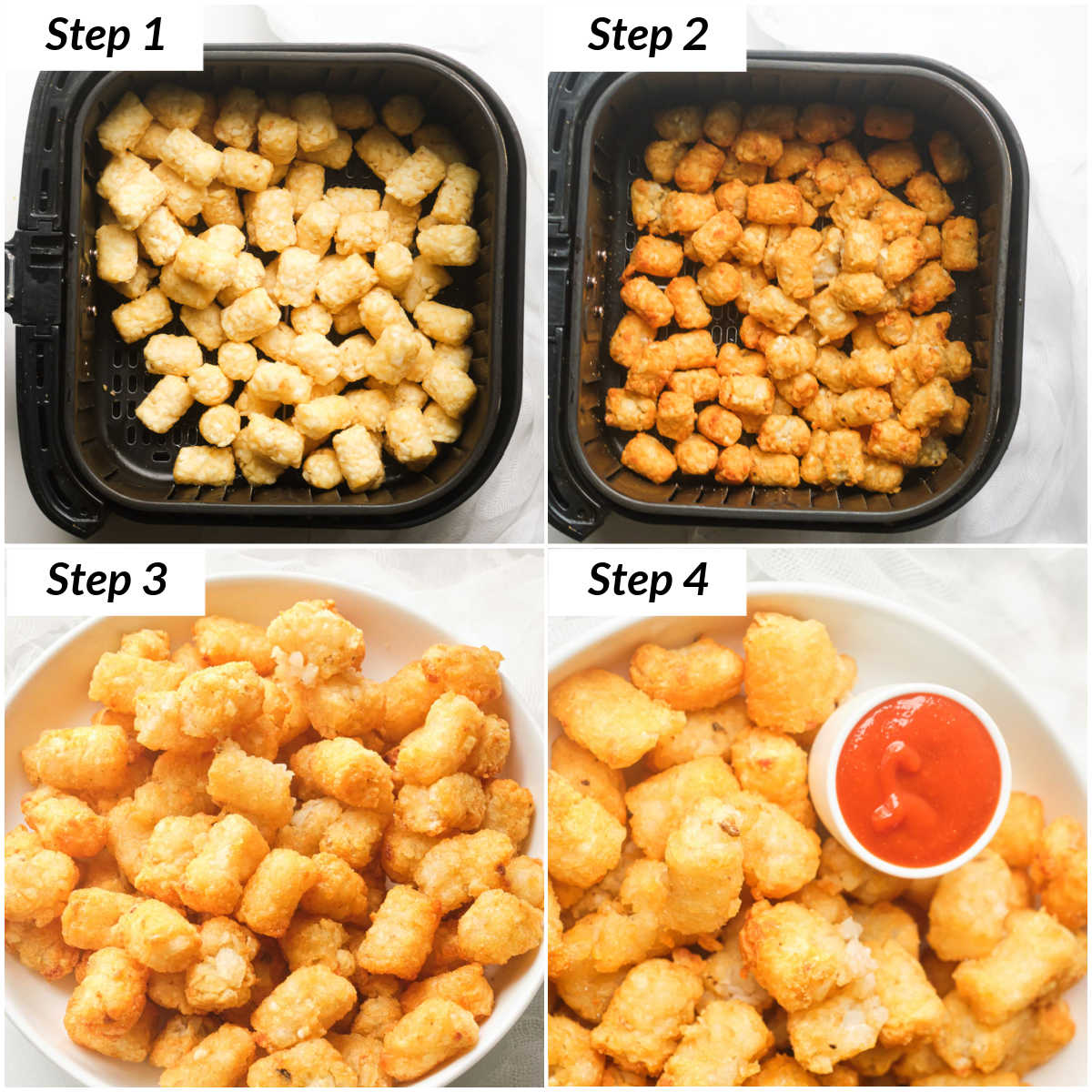 image collage showing the steps for making frozen tater tots in air fryer