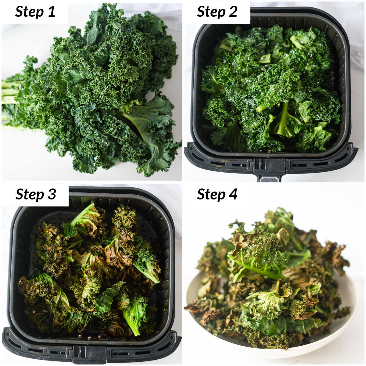 image collage showing the steps for making air fryer kale chips