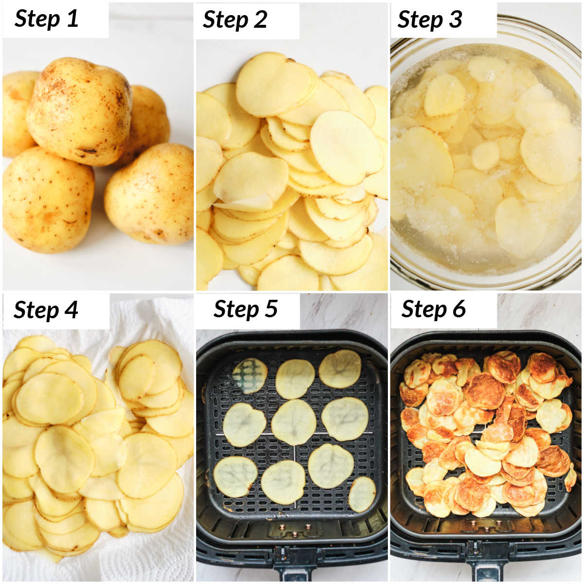 image collage showing the steps for making air fryer potato chips