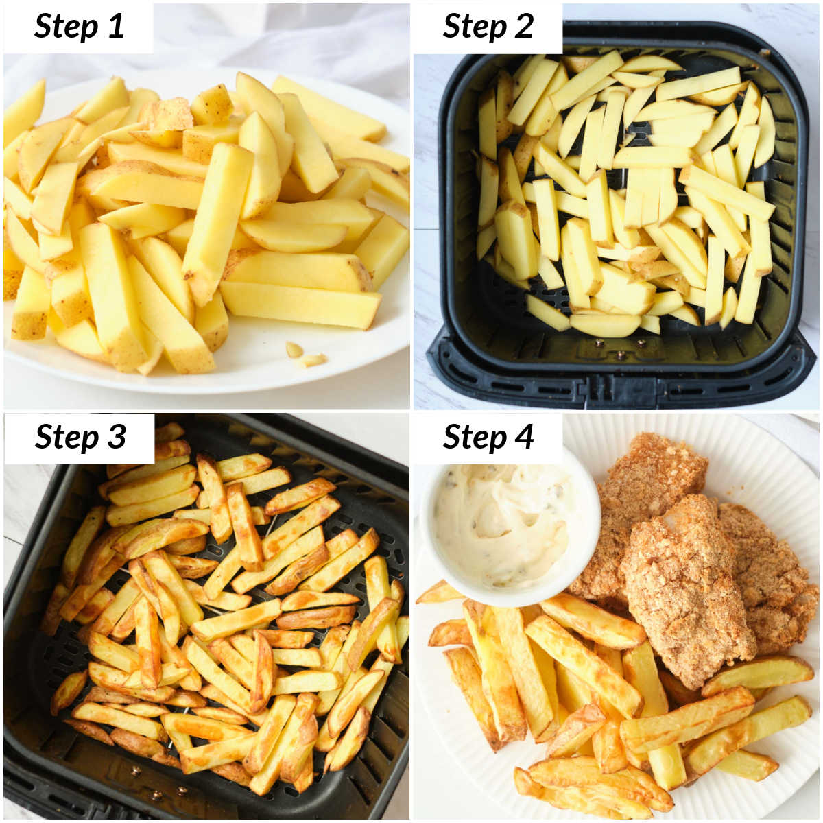 image collage showing the steps for making the fries portion of air fryer fish and chips