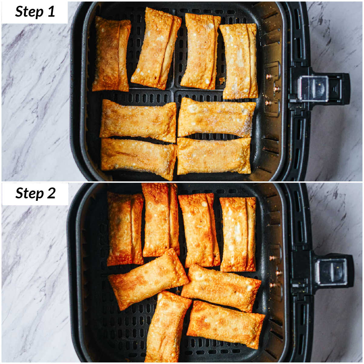image collage showing the steps for making frozen egg rolls in air fryer
