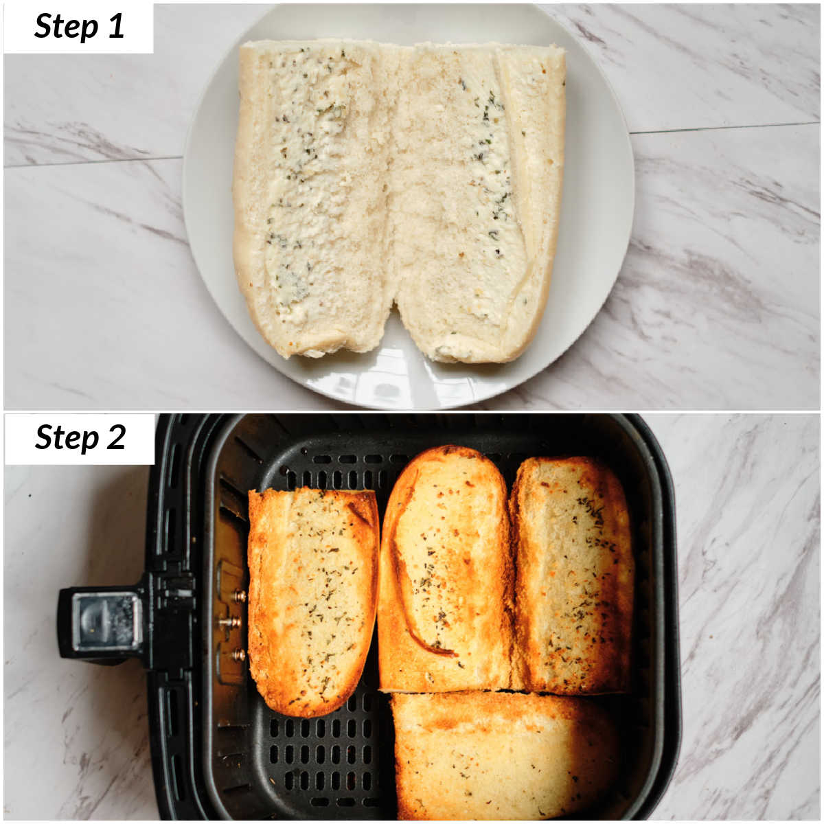 image collage showing the steps for making frozen garlic bread in air fryer