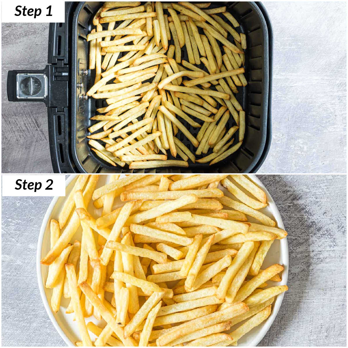 image collage showing how to reheat fries in air fryer