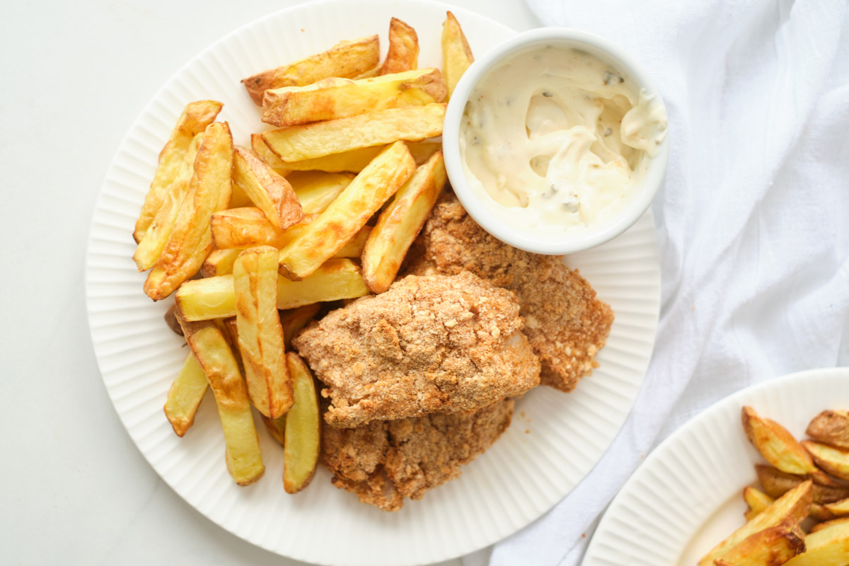 the completed fish and chips air fryer recipe