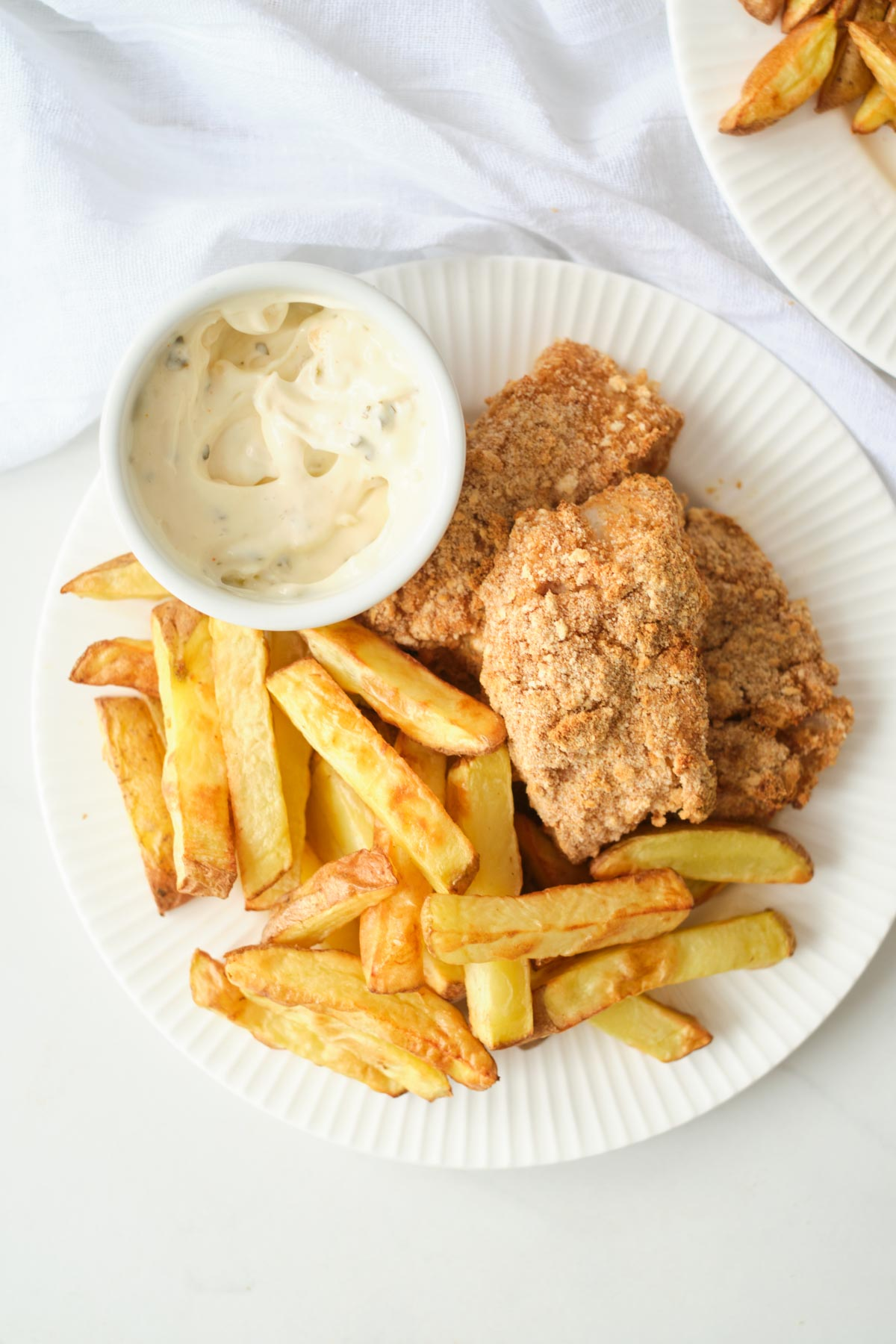 the completed air fryer fish and chips