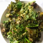 close up view of the completed air fryer kale chips recipe
