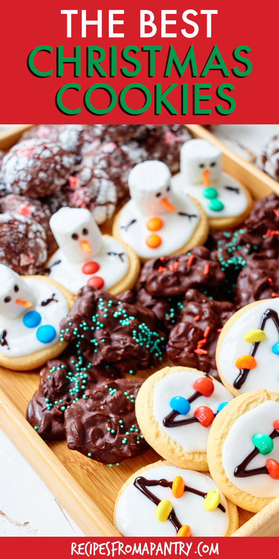a tray of assorted christmas cookies