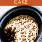 chocolate peanut butter cake inside a slow cooker