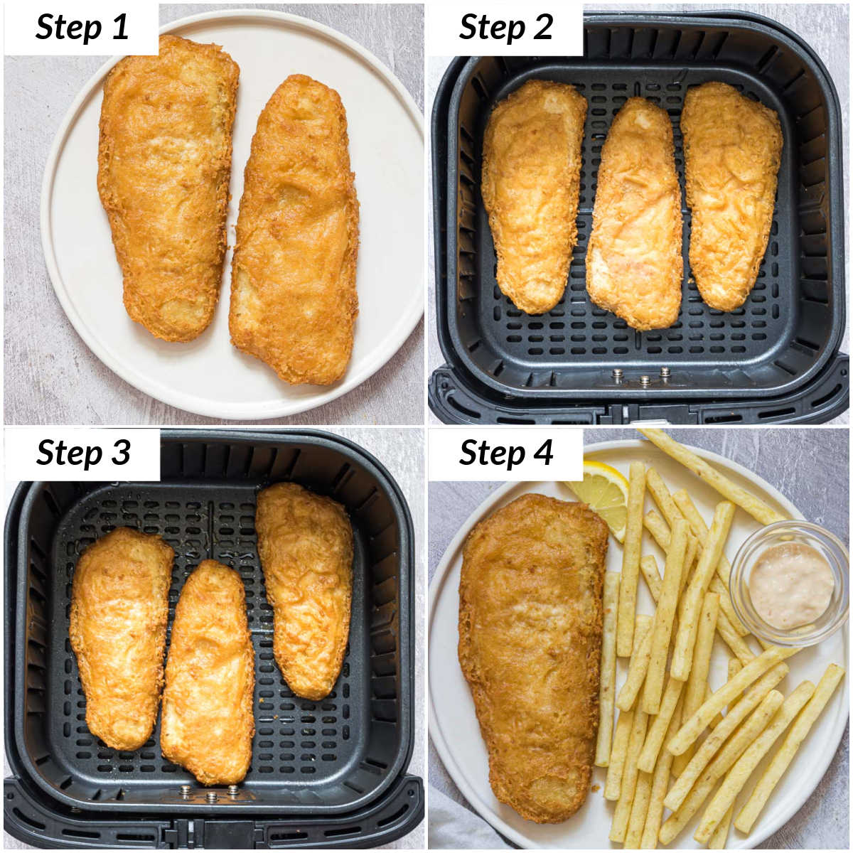 image collage showing the steps for how to reheat fried fish in air fryer