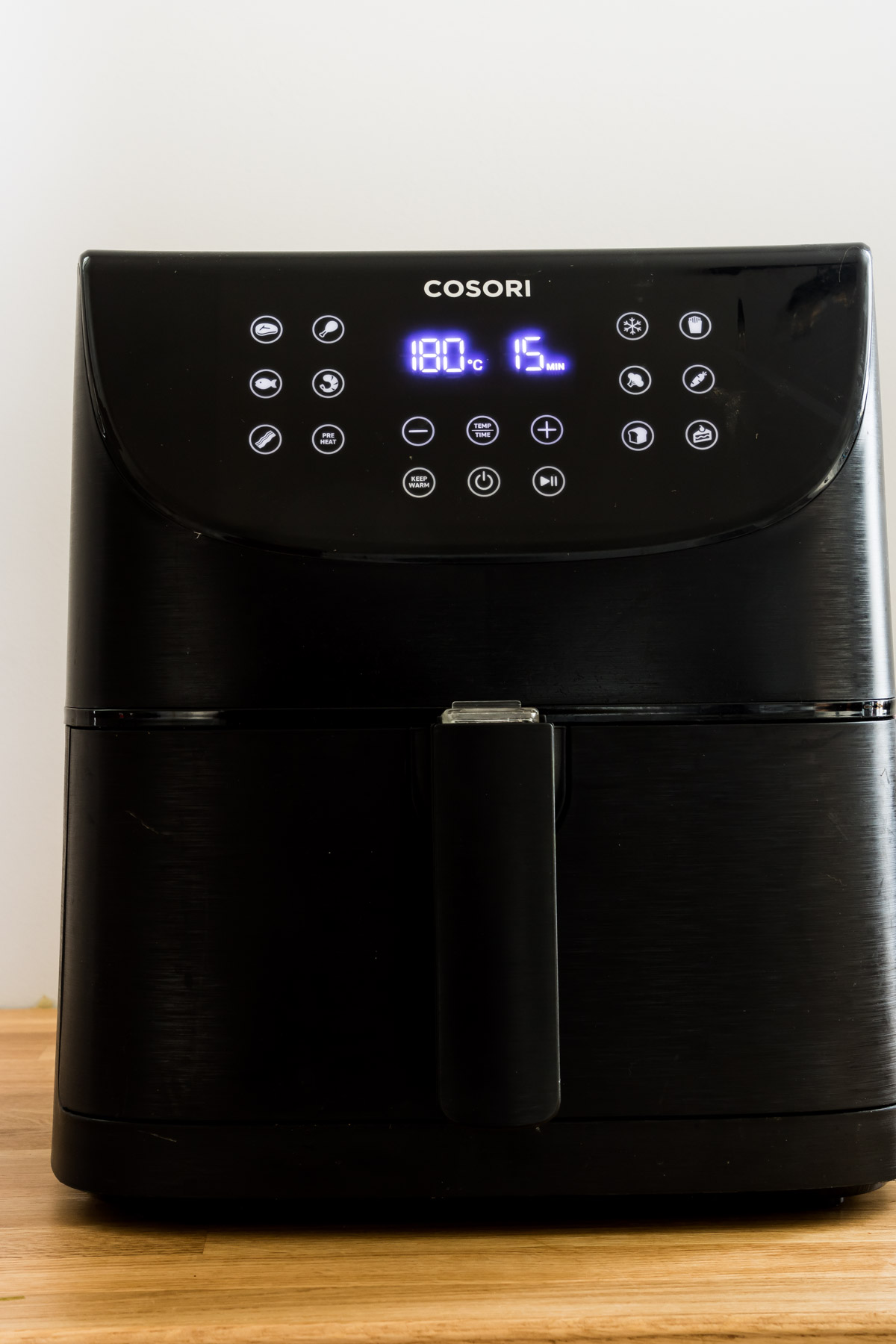 view of front panel showing how to preheat an air fryer