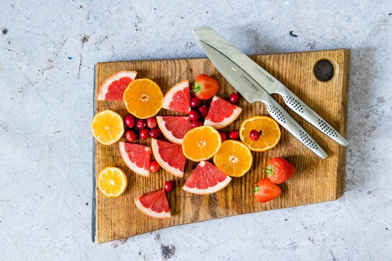 Egg Knife Block from CUISINEPRO KNIVES with sliced fruit
