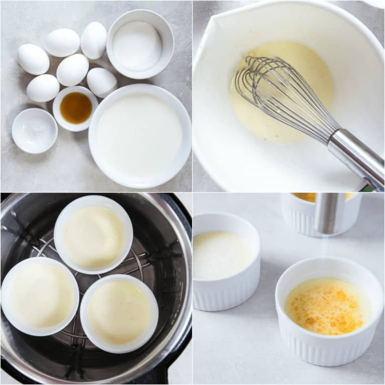 image collage showing the steps for making Instant Pot Creme Brulee