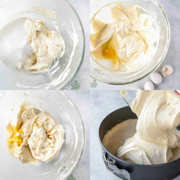 collage showing making keto cheesecake