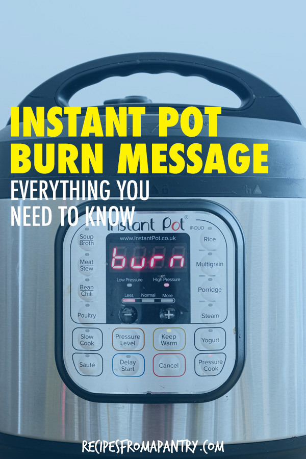 an instant pot with the display showing the burn error message
