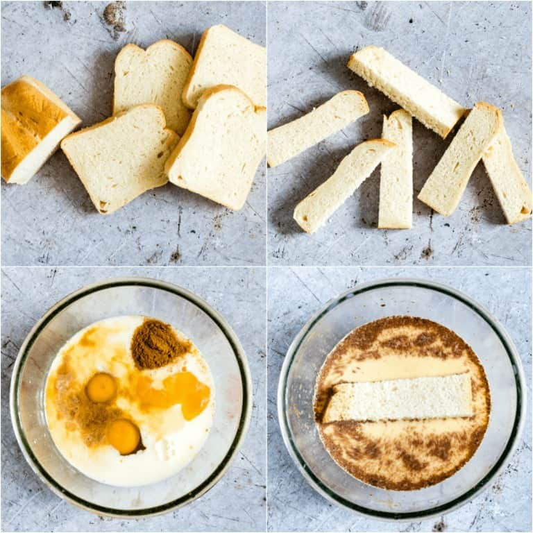 image collage showing the first steps for making Air Fryer French Toast Sticks