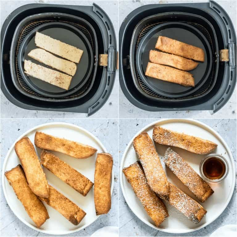 image collage showing the final steps for making Air Fryer French Toast Sticks