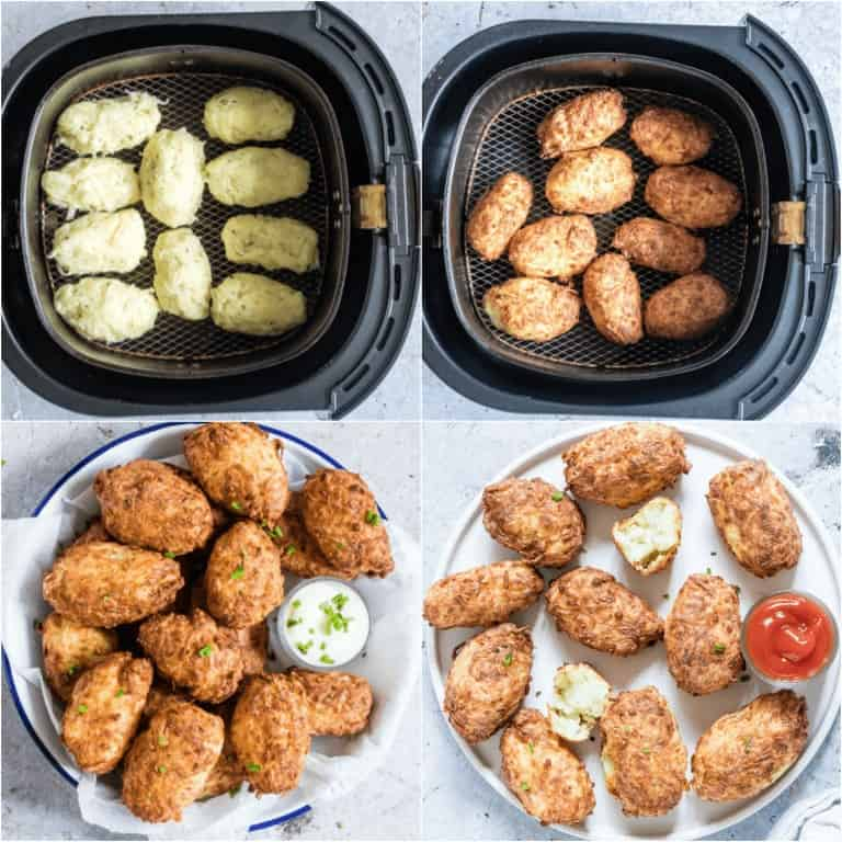 image collage showing the last steps for making Air Fryer Tater Tots