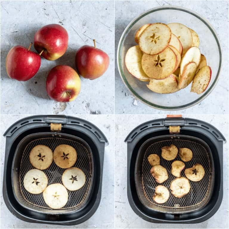 image collage showing the steps for making Air Fryer Apple Chips