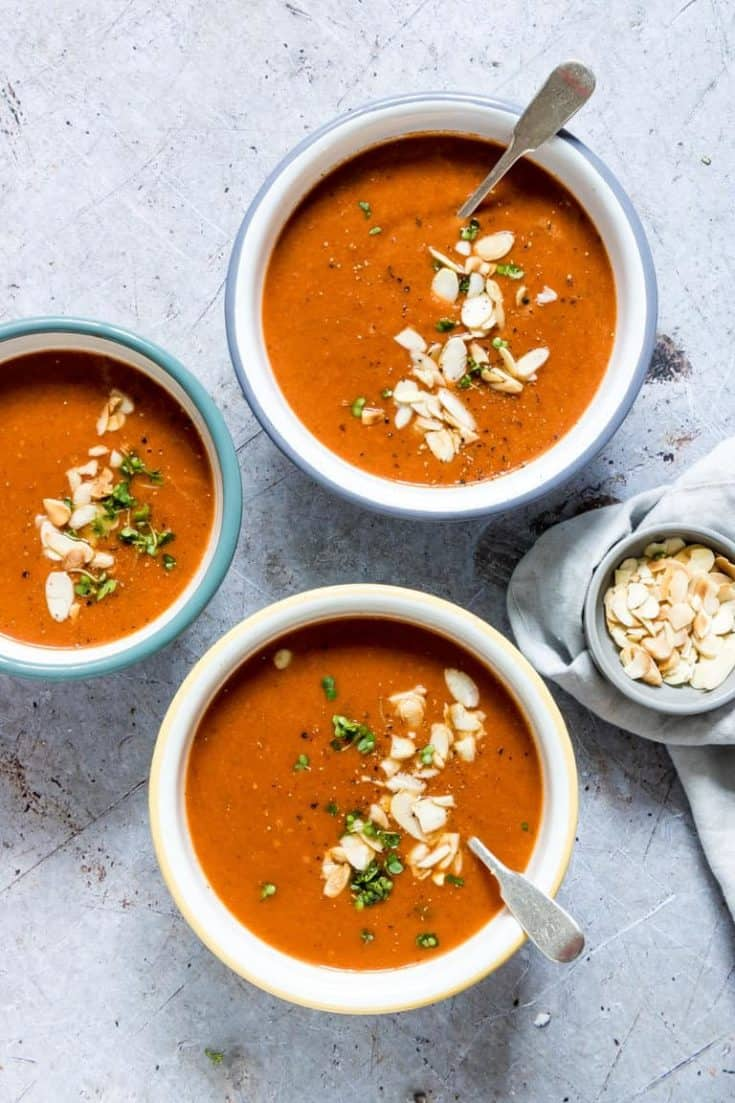 Creamy Instant Pot Tomato Soup + Stovetop version {Gluten Free, Vegan, Low Carb, Keto, Paleo, Whole 30}