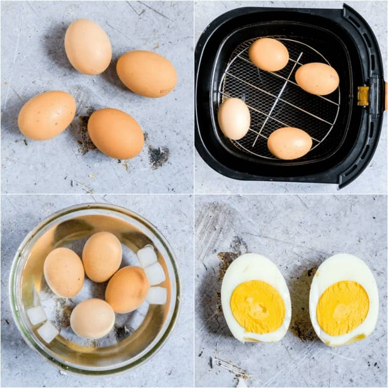 image collage showing the steps for making air fryer hard boiled eggs