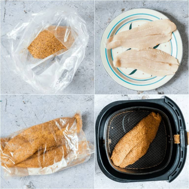 image collage showing the steps for making air fryer fish
