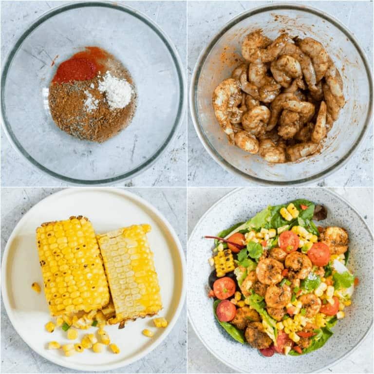 image collage showing the steps for making Cajun Shrimp Salad Recipe