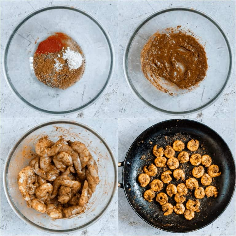 image collage showing the steps for making this Cajun Shrimp Recipe