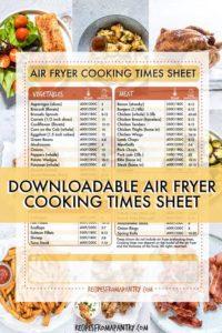 AIR FRYER COOKING TIMES CHEAT SHEET