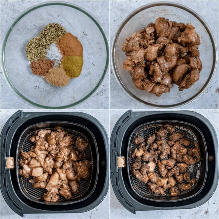 image collage showing the steps for making Air Fryer Chicken Shawarma