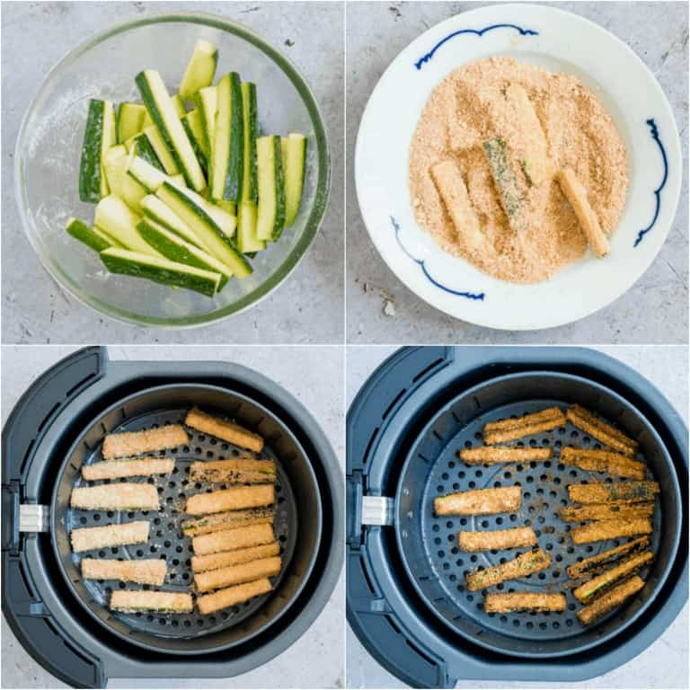 image collage showing the steps for making air fryer zucchini fries