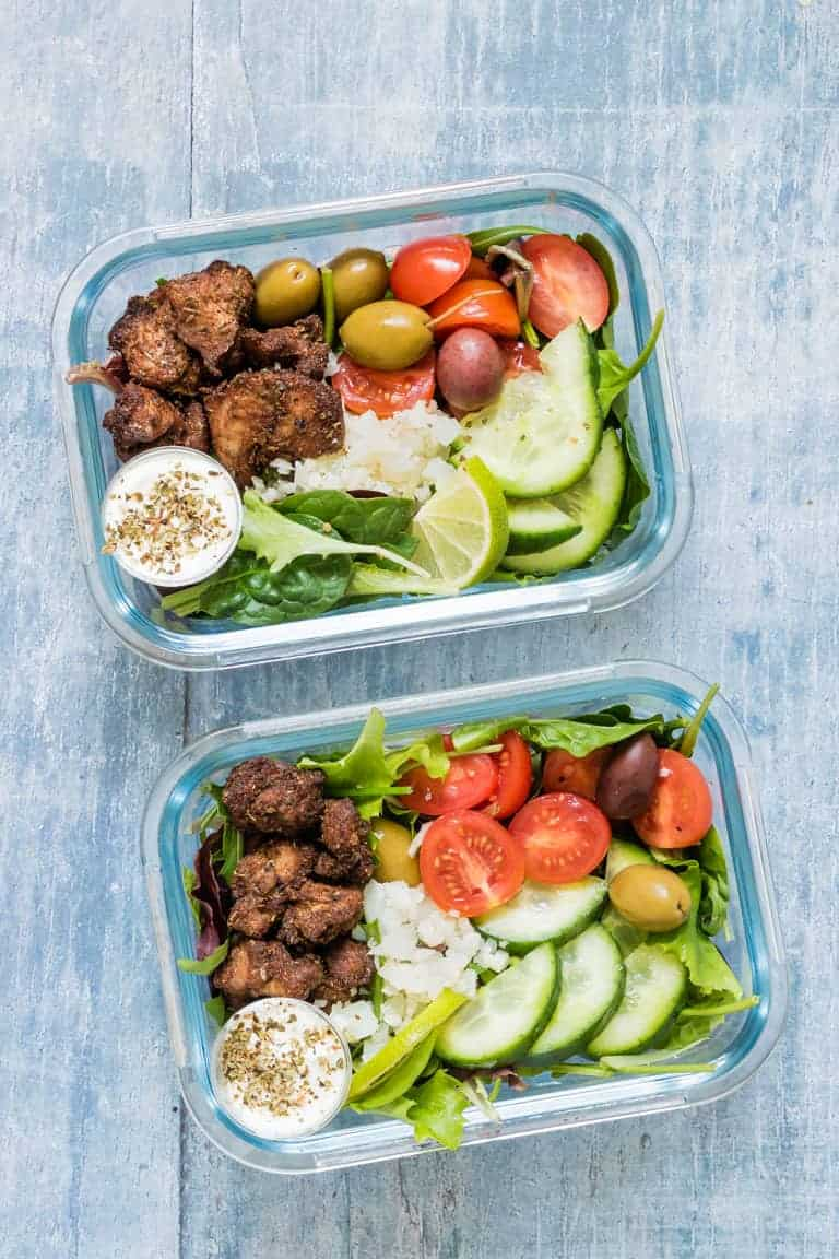 two meal prep glass containers filled with Air Fryer Chicken Shawarma Bowl