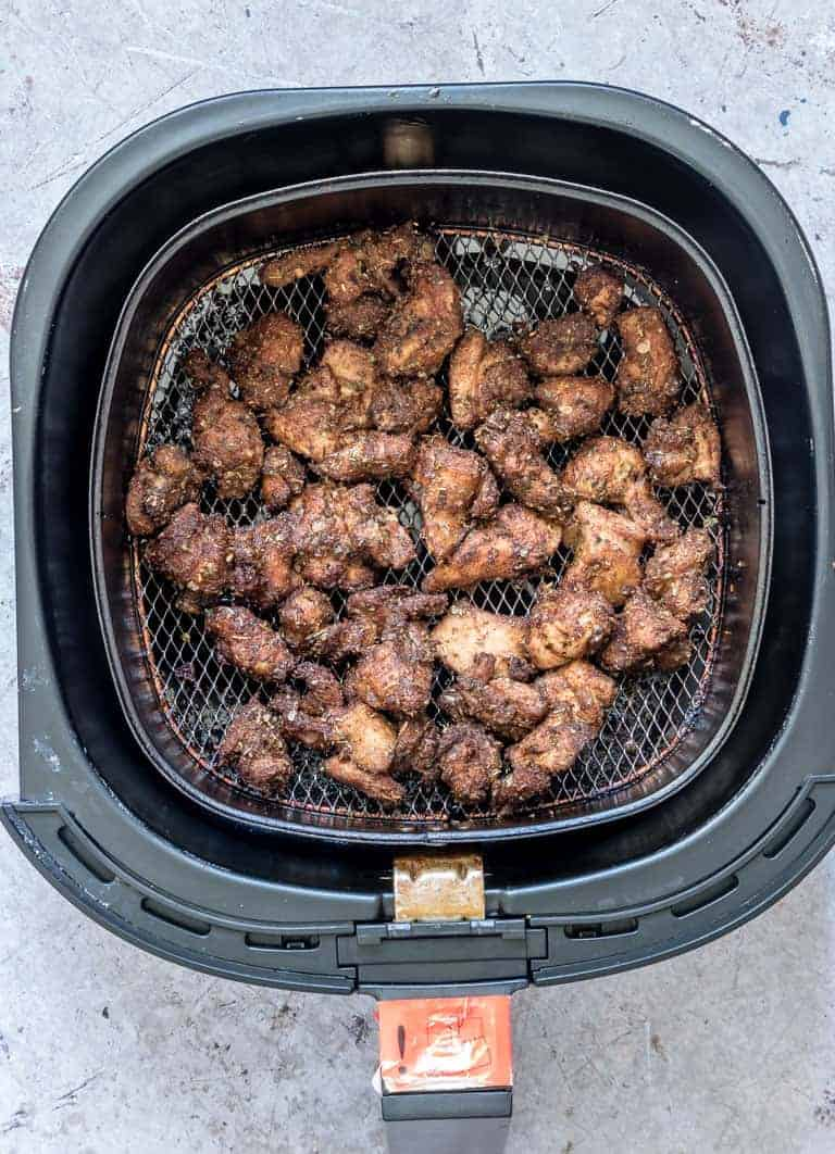 view of cooked Air Fryer Chicken Shawarma inside the air fryer basket