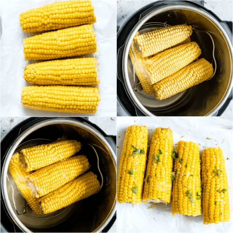 image collage showing the steps for making Instant Pot Corn on the Cob