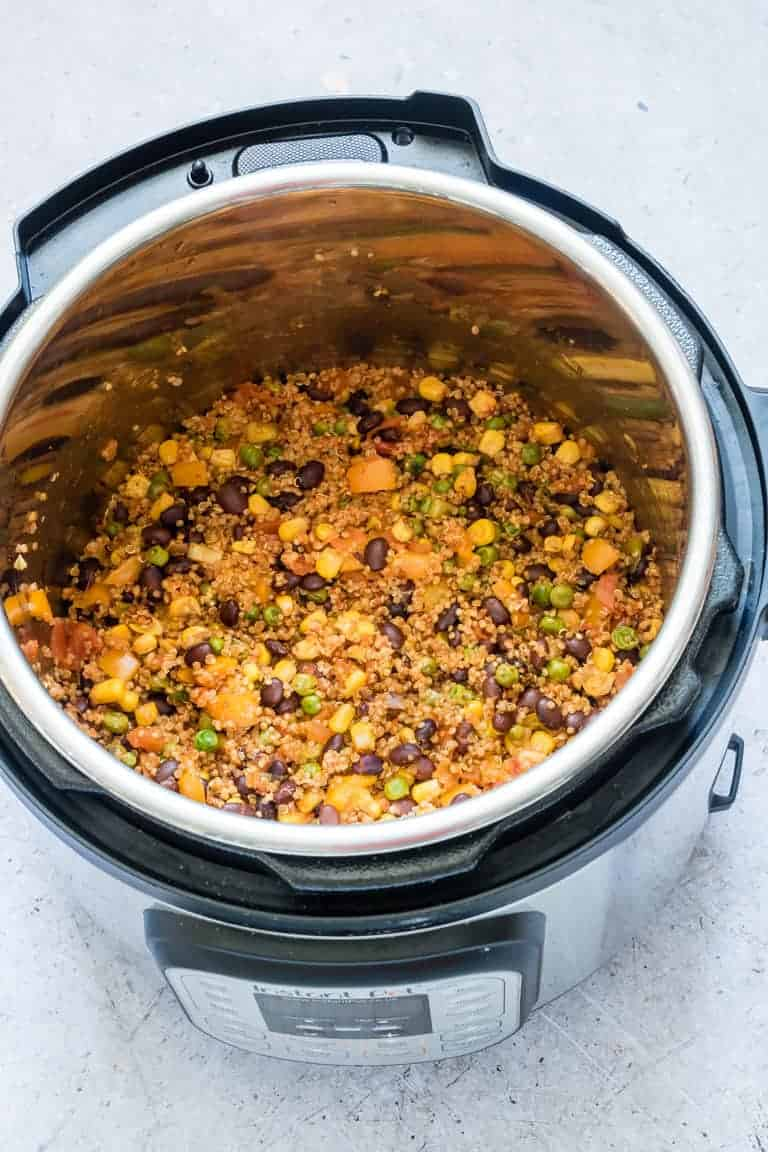 top down view of cooked Dump and Start Instant Pot Mexican Quinoa inside the Instant Pot