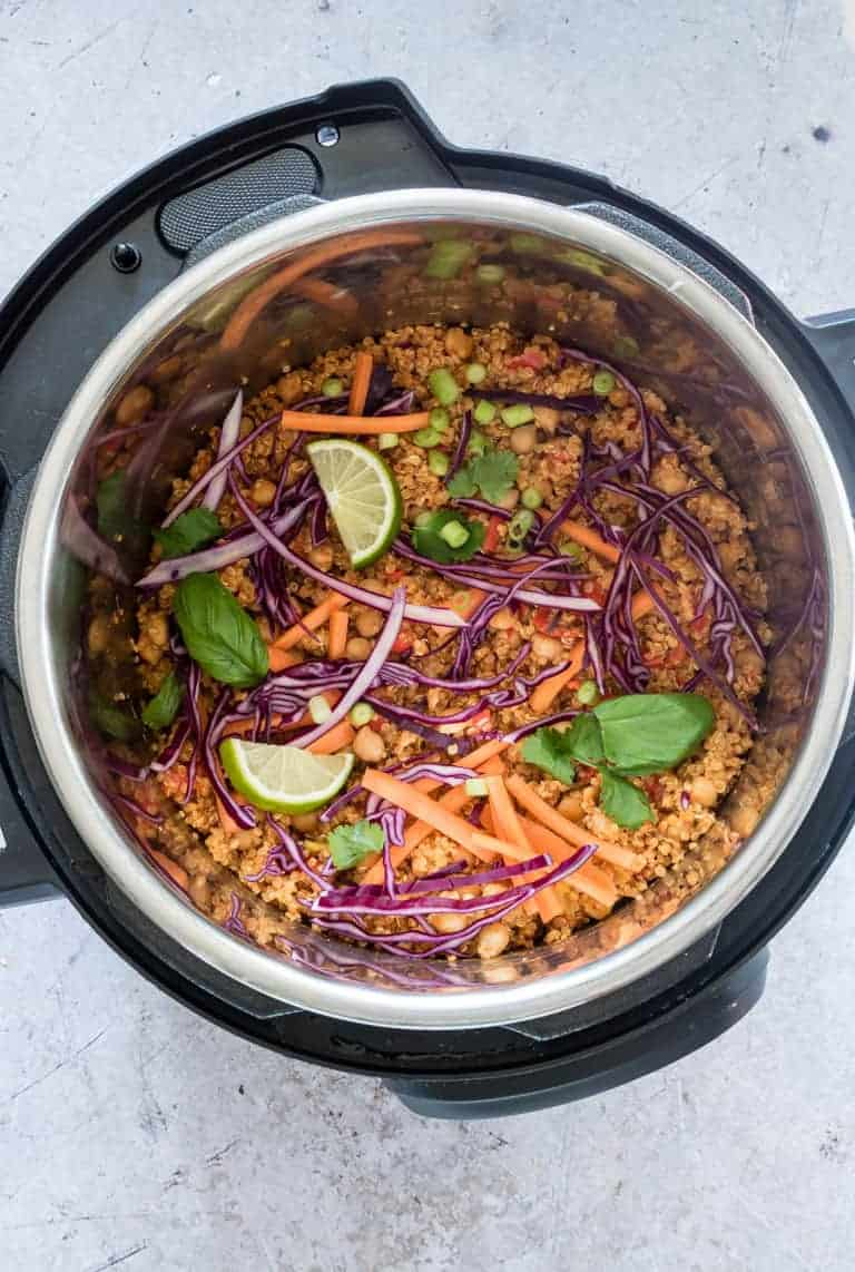 top down view of instant pot thai curry quinoa salad inside the instant pot insert